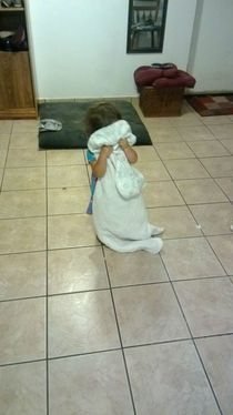 Was playing hide and go seek with my  year old niece turned the corner to see her hiding like this completely immobile