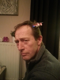 Was trying to land my quadcopter on my dads head