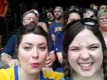 We got photo bombed pretty hard at our first brewers game