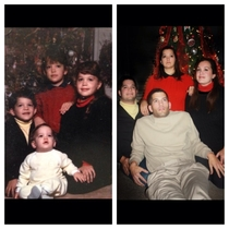 We recreated an old Christmas photo for my parents It ended up looking like I was in a coma