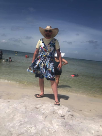 We take turns wearing this dress in various public places I wore it fishing at a relatively empty park area He has upped the game by wearing it to a beach in Florida I am dreading my next turn
