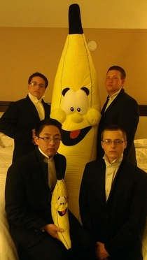 We won this banana on our senior band trip to Virginia It took us at least  tries to successfully take this picture without laughing at am in our hotel room