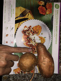We would like to thank Hello Fresh for sending us the smallest sweet potato for our meal this week