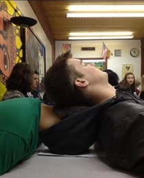Well thats one way to fall asleep in class