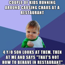 Went out to dinner with my wife and young son Achieved one of the greatest parenting accomplishments ever