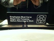 Went to a metal-themed brewery near Downtown Denver and found this in the bathroom