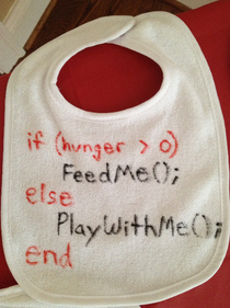 Went to an engineers baby shower this weekend and they had a bib-decorating station I thought this was appropriate