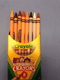Went to give a kid at work a coloring sheet and crayons when I noticed these Multicultural Crayons