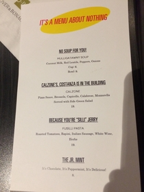Went to see Seinfeld last night and the nearby restaurant had this special events menu