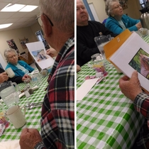 Went to senior community bfast with granpa in law and saw one senior handing out printed memes to the other seniors