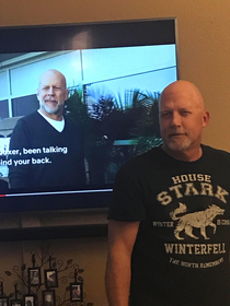 Weve been telling my dad he looks like Bruce Willis Finally got a chance to show him