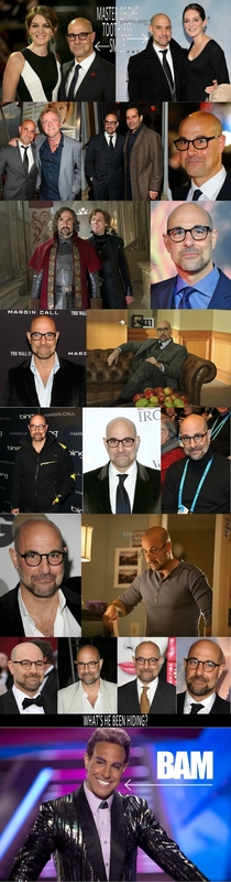 What does Stanley Tucci have hidden in his mouth
