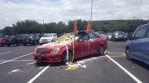 What happens when a junior parks like a douche in a senior lot on the last day of school