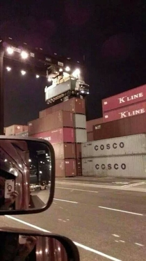 What happens when you forget to detach the shipping container from your truck at the harbor