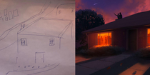What my client gave me as a sketch vs What I drew for them They asked for a couple on a roof staring at the sky with a party in the house below