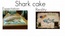 What my sister expected as her shark cake and what she actually got on her birthday
