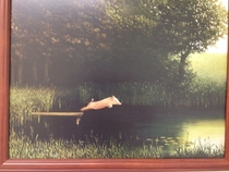 When inspiration strikes one must paint a bucolic scene - featuring a diving pig