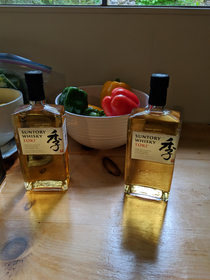 When my good friend and I get together we like to exchange bottles of interesting whisky or bourbon etc Today we gave each other the same Suntori Whisky