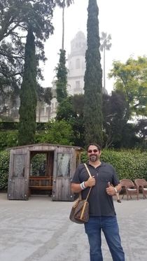 When you ask someone for a picture at Hearst Castle while forgetting youre holding your wifes purse