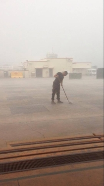 When you fuck up so bad they make you mop the rain