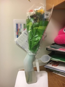 When you work in a hospital and someone brings you in flowers