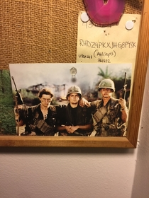 Whenever people ask about this postcard in my friends room he tells them its his uncle and two friends in Vietnam Its surprising how many of them actually believe him
