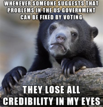 Whenever someone suggests that problems in the US government can be fixed by voting