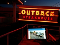 While eating dinner at Outback I saw your Outback pulling an Outback stopped to eat at Outback parked outback