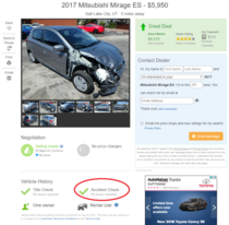 While looking for a car I found this perfectly good car thats never been in an accident ever Thanks vehicle history report