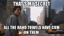 While my gf is doing laundry and asks which hand towels have cum on them because she doesnt want to touch them
