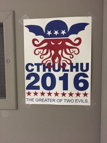 While walking through the political science building at my college I noticed an interesting  presidential campaign ad