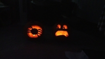 Wife and I carved pumpkins She made a spider I made mine afraid of spiders
