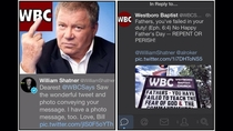 William Shatner posted this response to WBC tweet
