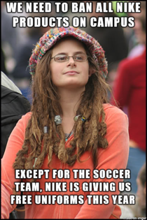 With respect to terrible sweatshop conditions She is also on the soccer team
