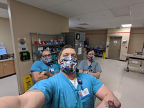 With the new CDC recommendations a volunteer made some fun cat cloth masks for our department