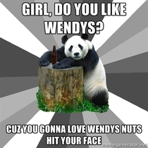 Witnessed this at a bar last night Reminded me of the glory days of bad pickup line panda
