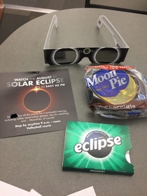 Work is passing out eclipse kits