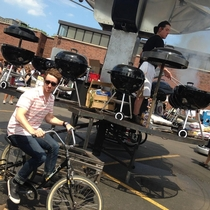 Yesterday I ended up at a Kosher BBQ with a grill merry-go-round powered by bicycles and manned by two guys cooking on  grills
