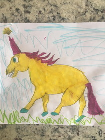 Yesterday my  yr old daughter asked me to draw her a unicorn and with my lack of artistic ability I barely drew this This morning she said it had haunted her dreams