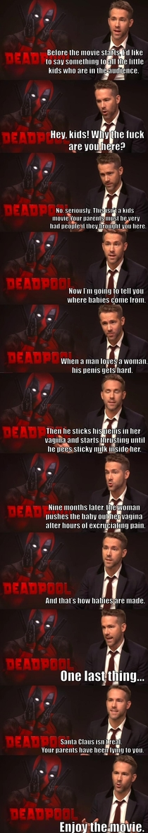 Youre taking your kids to see Deadpool Fine you asked for it